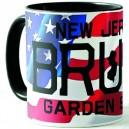 50% Oferta - TAZA BANDERA - NEW JERSEY BRUCE GARDEN STATE - NEGRA